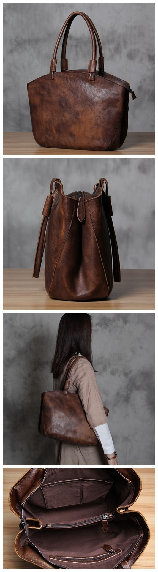 Women's Fashion Handmade Leather Tote Bag Handbag Small Satchel Purse WF02 Overview: Design: Vintage Vegetable Tanned Leather Tote In Stock: 4-5 days For Making Include: Only Tote Bag Custom: No Color