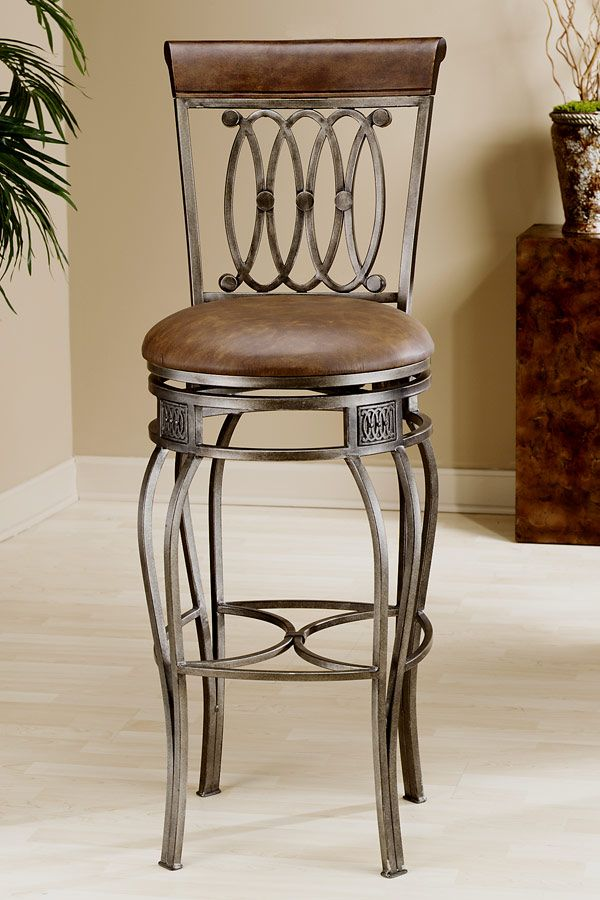 Faux Leather Upholstered Wrought Iron Swivel Counter Stool