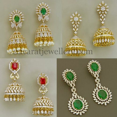 Jewellery Designs: Magnificent Latest Diamond Jhumkas