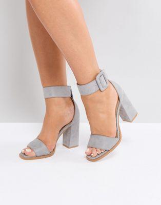 fe31d1267d26 RAID Aveline Grey Block Heeled Sandals Grey Block Heel Sandals
