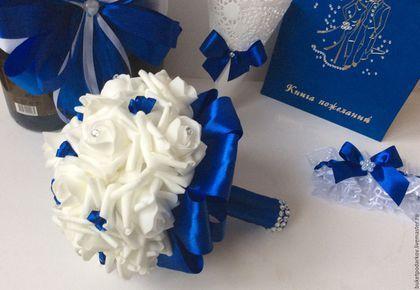 Свадебные цветы ручной работы. Свадебный букет ( с лентами) повтор.. Марина.. Ярмарка Мастеров. Свадебный аксессуар, роза из фоамирана