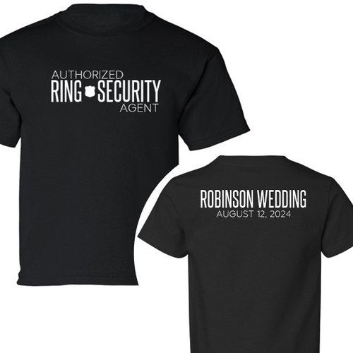 Personalized Authorized Ring Security Agent T-Shirt {with Wedding Name and Date…