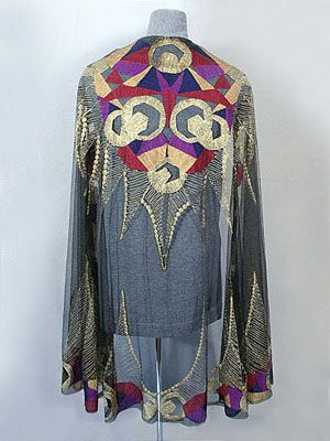 Deco silk tulle shawl, embroidered with a bold geometric pattern of metallic gold and silk floss,c.1920.