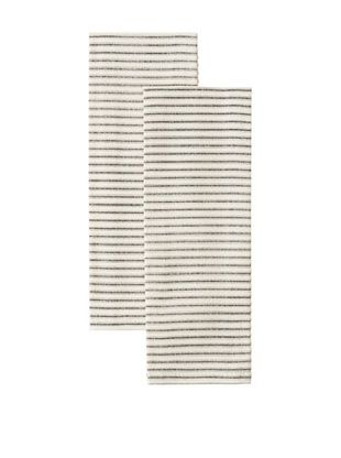 Chateau Blanc Set of 2 Ticking Cafe Towels (Black)