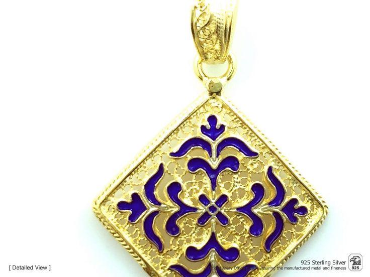 Portuguese Filigree PENDANT Azulejo w/ Enamel Viana Traditional in 925 Sterling Silver w/ 24k Gold Bath by NadirFiligree on Etsy