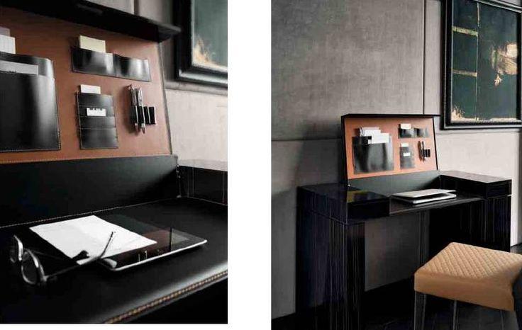 Consolle Home-office nero lucido con interno in cuoio. Particolari ...