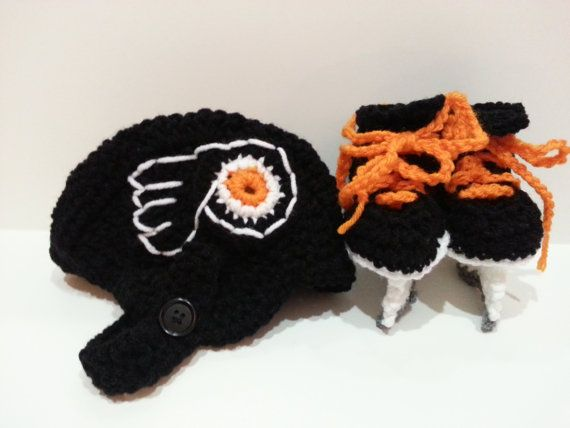 Philadelphia Flyers Helmet and Ice Skate Booties, NHL Flyers, Hockey Skates on Etsy, $37.00