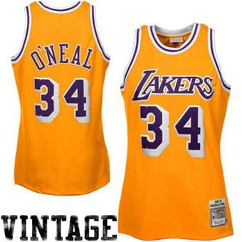 75314f27183 ... Mitchell Ness Shaquille Oneal Los Angeles Lakers Throwback Authentic  Home Jersey - Gold ...