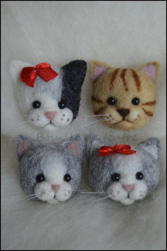 Broche tête de chat feutrage à l'aiguille / cat head pin needle felting
