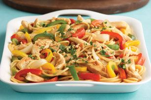 Chicken Lo Mein Asian toasted sesame dressing and peanut butter