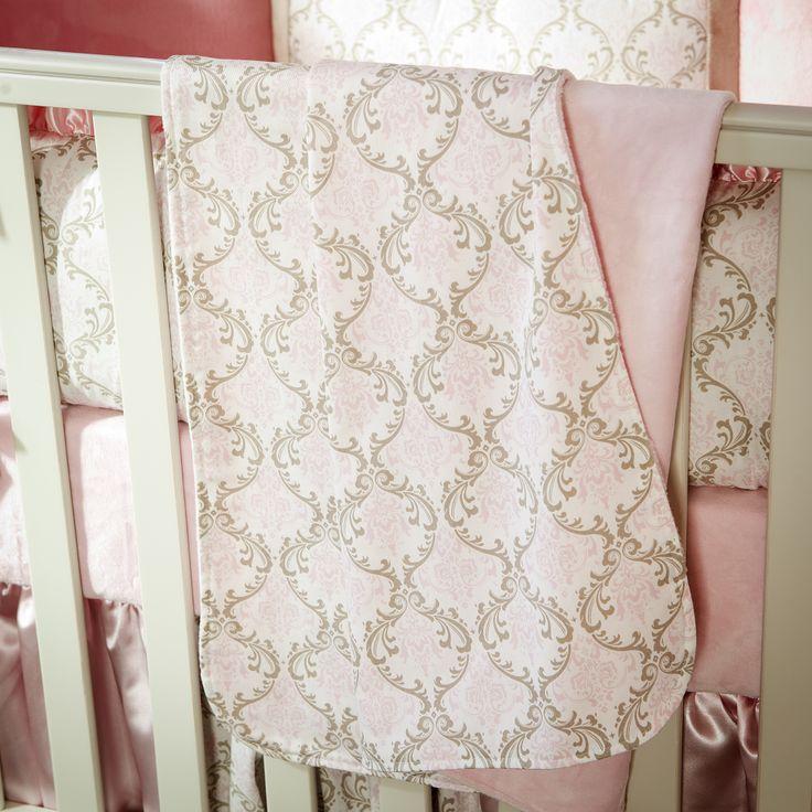 Pink and Taupe Damask Crib Blanket #carouseldesigns