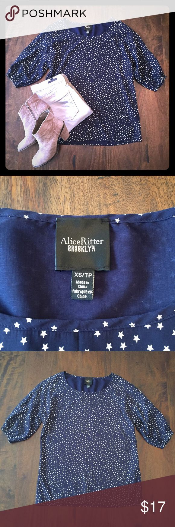 Alice Ritter BROOKLYN for GAP Navy Stars Blouse Alice Ritter BROOKLYN blouse originally purchased at GAP. Navy blue with white stars. This blouse is the perfect addition to your spring and summer wardrobe for a festive Memorial Day, 4th of July or Labor Day picnic. 54% polyester / 46% rayon. Crew / scoop neck. 3/4 length sleeves with elastic creates a casual relaxed look. Size XS but relaxed fit would fit a Small. GAP Tops Blouses