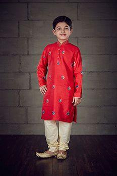 Embroidered kurta churidar in crepe silk from #Benzer #Benzerworld #KidsWear #BoysWear #Indianwear #Kurta