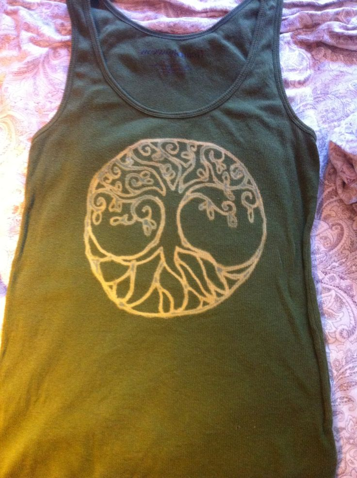 Bleach pen DIY tree of life design.  Would look good on a home made bag too.