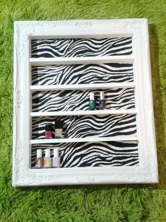Zebra Glam Nail Polish and Makeup Display by DaintyCreations