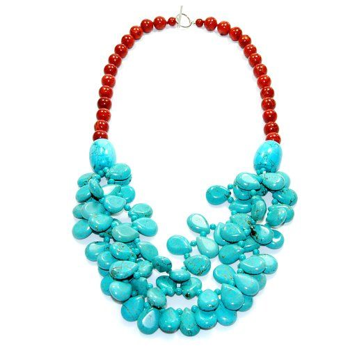 10mm Sponge Coral, Turquoise Necklace with 925 Sterling Silver Toggle Clasp 24""