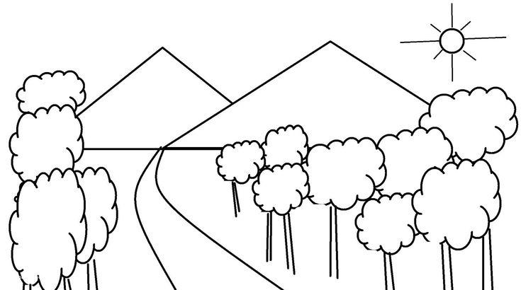 Gambar Mewarnai Pemandangan Gunung Dan Pepohonan Di 2020 Sketsa