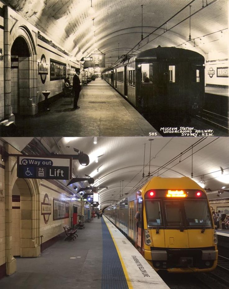 Platform 1 at Museum Railway Station, Sydney c1927 > 2016. [1927: original postcard in David Critchley's collection > Phil Harvey. By Phil Harvey]