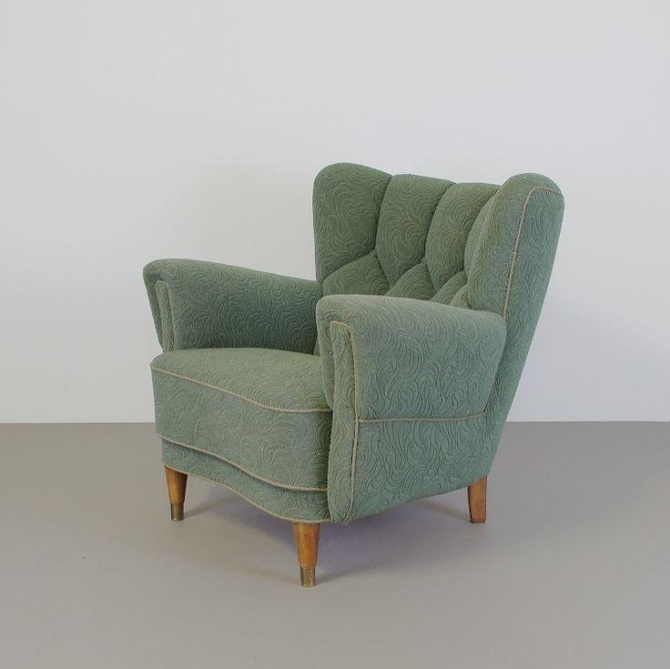 bijzondere jaren 40 fauteuil scandinavisch design groene stof