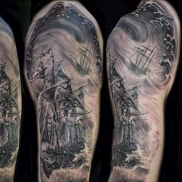Pirate Ship Tattoo Sleeve