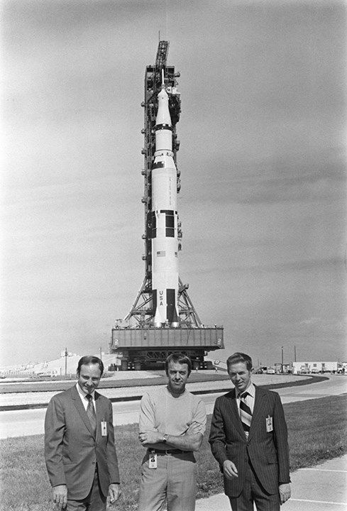 The Apollo 14 (Spacecraft 110/Lunar Module 8/Saturn 509) space vehicle arrives at Pad A, Launch Complex 39, during the Apollo 14 roll out from the Kennedy Space Center's Vehicle Assembly Building. The three members of the Apollo 14 prime crew are in the foreground. They are (left to right) astronauts Edgar D. Mitchell, lunar module pilot; Alan B. Shepard Jr., commander; and Stuart A. Roosa, command module pilot. (credit: NASA-KSC)