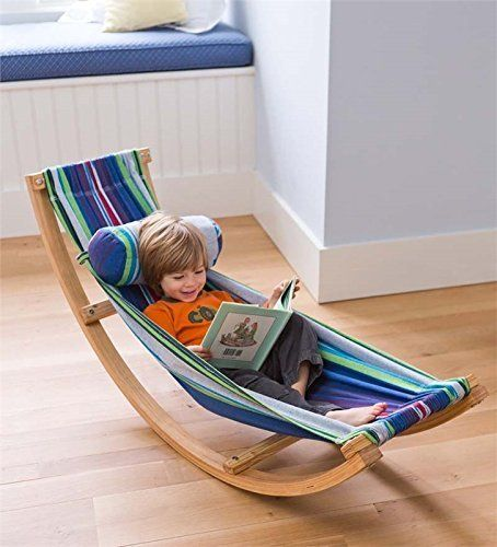 How fun would this ROCKING HAMMOCK be for kids of all ages!  Especially fun in a reading nook! :)