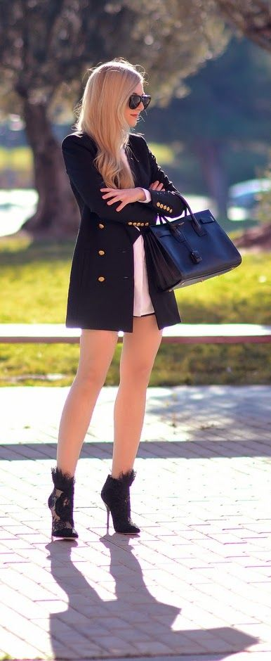Gold Button Up Blazer & Lace High Heel Booties