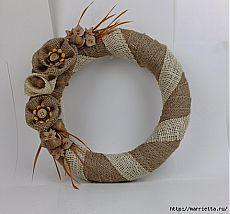 Осенний венок из мешковины. Фото мастер-класс | Конфетный рай