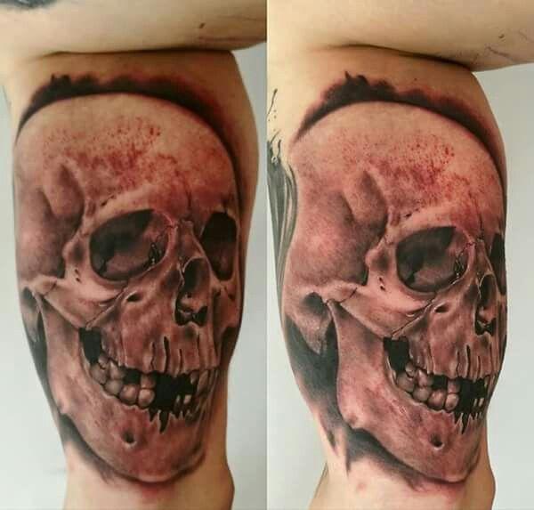Skull tattoo,skull,ralism,realistic tattoo,tattoo andel chrudim,czech tattoo