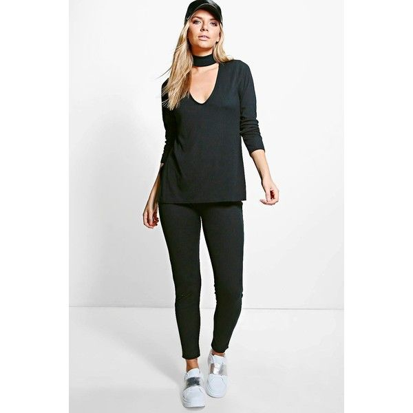 Boohoo Amy Rib Knit Choker Loungewear Set (1,065 INR) ❤ liked on Polyvore featuring tops, sweaters, white turtleneck, white sweater, sequin jumper, party jumpers and white wrap sweater
