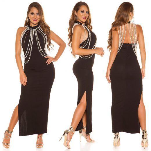 589b7cf4656b Dlhé spoločenské šaty s perlami Black v roku 2019