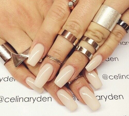 Nude Square Tip Acrylic Nails w/ Midi Ring Collection