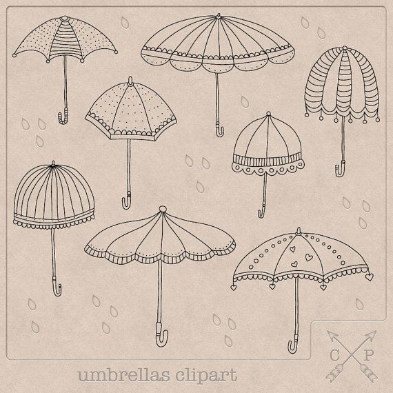 8 hand drawn black umbrellas doodle clip art files on transparent background.  These are perfect for (digital) scrapbooking, creating your Etsy banner, logo, graphic design, wedding and baby shower card or invitation making, printing labels and anything else you can come up with.  Easy colour change if you have the right software like photoshop. If you don't have the right software and would like a different colour, you can always request a custom colour.