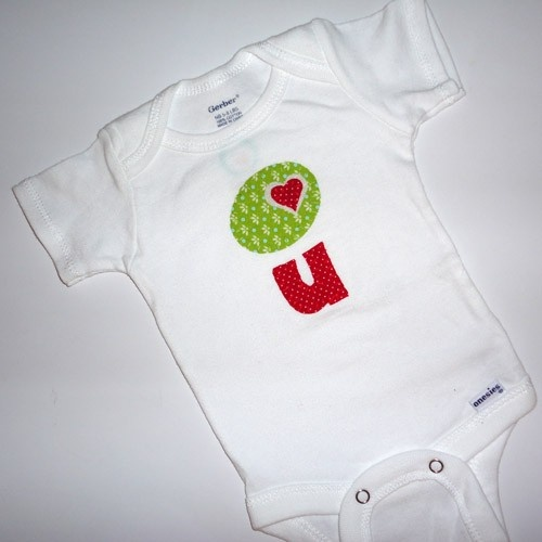 Olive You Applique Onesie by niteowldesigns1 on Etsy, $18.00