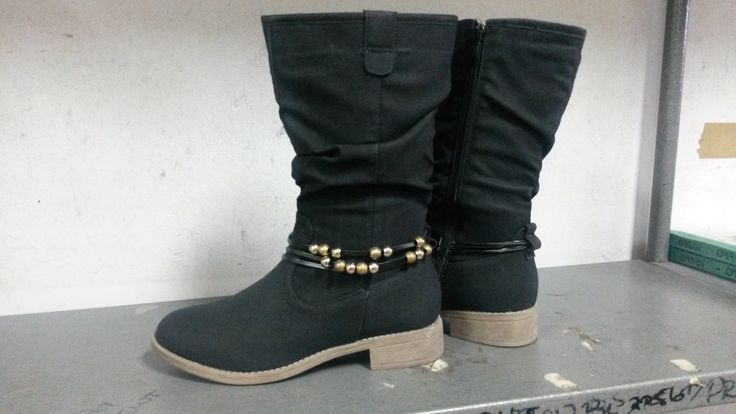 Black Half Boot with Ankle Bead Detail.