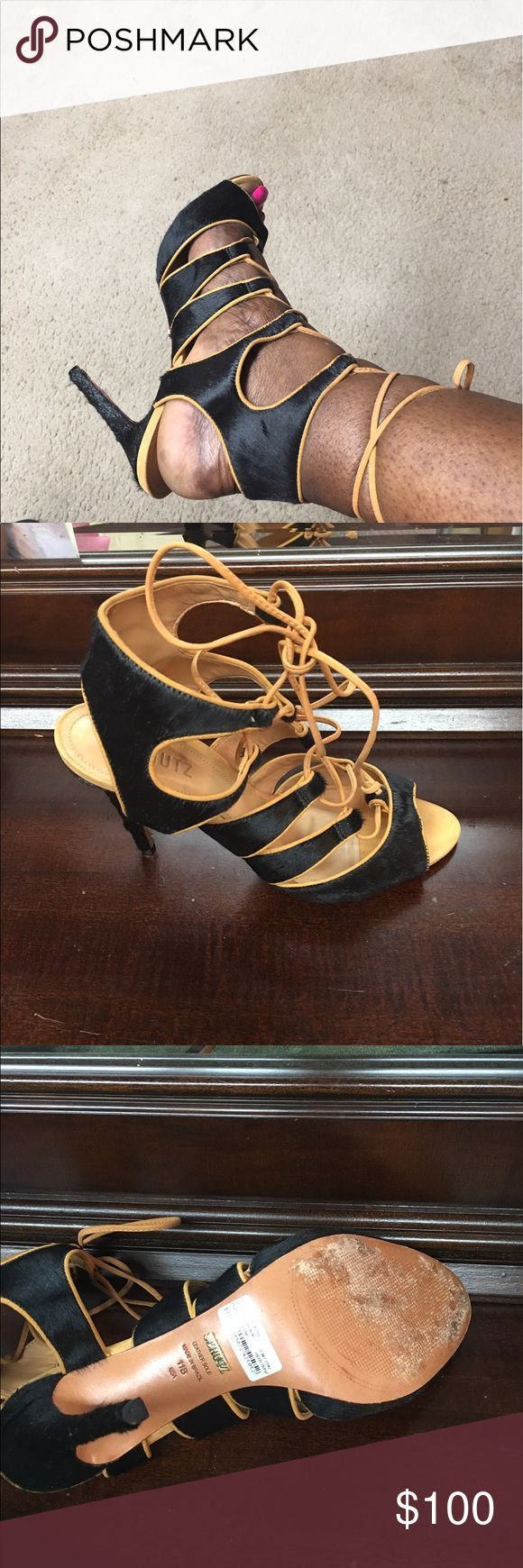 SCHUTZ BLACK HIGH HEEL SANDAL SIZE 11 BLACK AND TAN HIGH HEEL SANDALS IN EXCELLENT CONDITION WORE IT ONE TIME. SCHUTZ Shoes Sandals