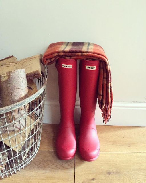 Red hunter wellies autumn tartan Roses and Rolltops