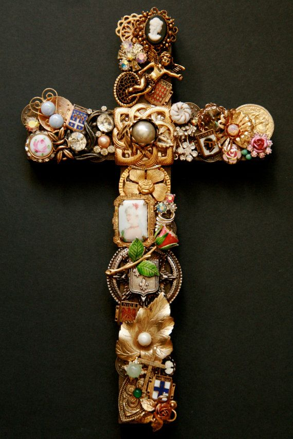 Hand Designed Vintage Jewelrey Wall Cross w/ rhinestones, cameos & antique european flair. $120.00, via Etsy.