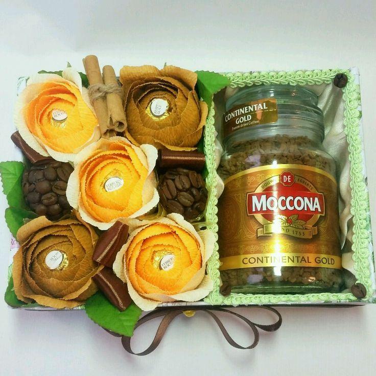 Купить Букет из конфет в коробке - букет из конфет, букет цветов, букет в подарок, букет роз