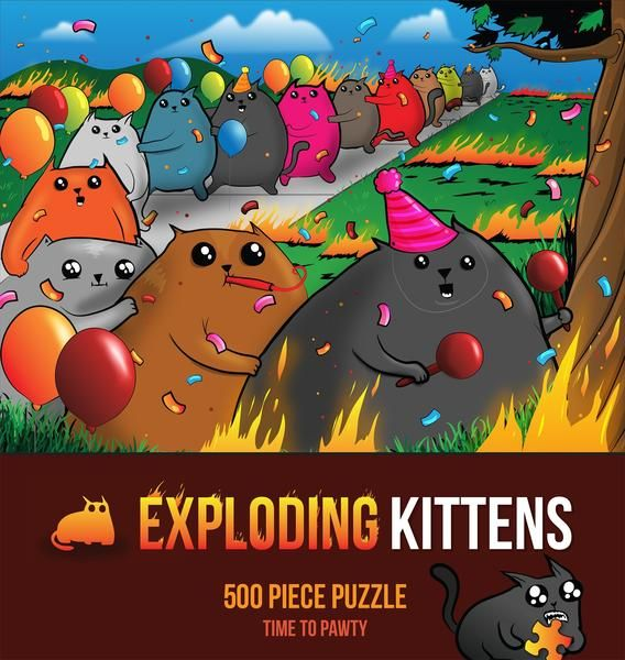 Exploding Kittens Time to Pawty puzzle features conga line kittens from the highly strategic, kitty-powered card game version of Russian Roulette created by Ela