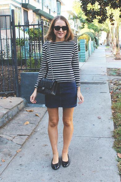 Ray Ban Sunglasses, Petit Bateau Striped Top, American Apparel Skirt, Chanel Flats, Chanel Bag