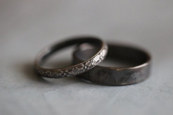 BECCA: Wedding Rings, Set, Wedding Bands, Sterling Silver, Botanical, Modern, Minimalist, His and He