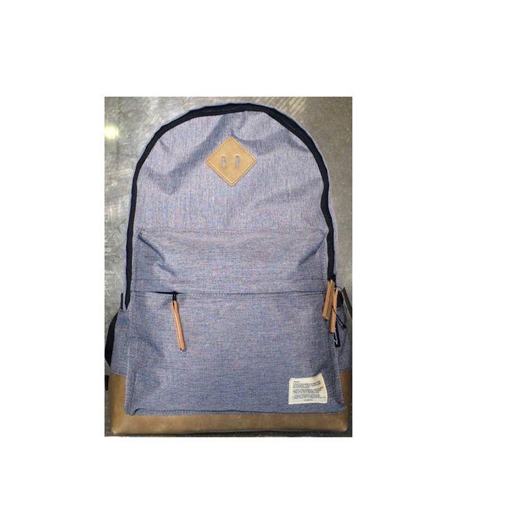Korea Casual Button Backpack School Travel Outdoor Shoulder Bag Gray Men Women
