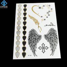 Ophir Flash do tatuagem asas sensuais ouro ouro metálico tatuagens no corpo temporária tatuagem adesivos _ MT061