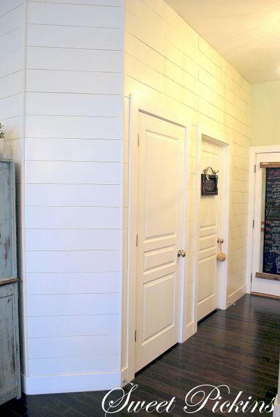 Sweet Pickins white planked kitchen wall (shiplap panel)