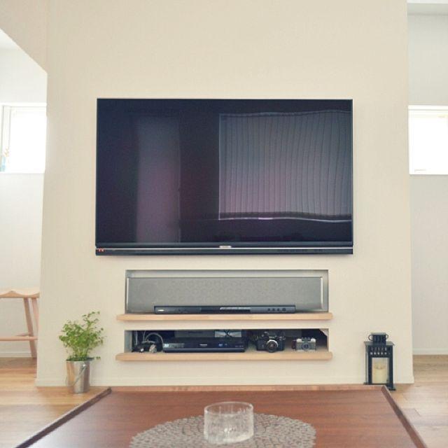 女性で、2LDKの壁掛けテレビ/ニッチ/リビングについてのインテリア実例を紹介。「壁掛けテレビ、ニッチのオーディオコーナー。階段の側壁を利用しています。」(この写真は 2016-04-02 22:18:09 に共有されました)