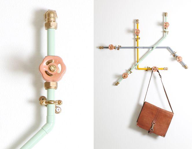 nick fraser.: Coats Hooks, Coats Racks, Standards Pipework, Nick Fraser, Pastel Colors, Industrial Design, Green Home Decor, Hangers, Functional Decor