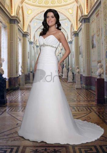 Abiti da Sposa Senza Spalline-Principessa treno chiffon di raso abiti da sposa senza spalline