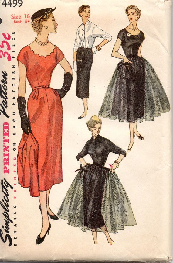 1950s Simplicity 4499 Misses Cropped Jacket Tulle Overskirt  and Slim Dress womens vintage sewing pattern by mbchills