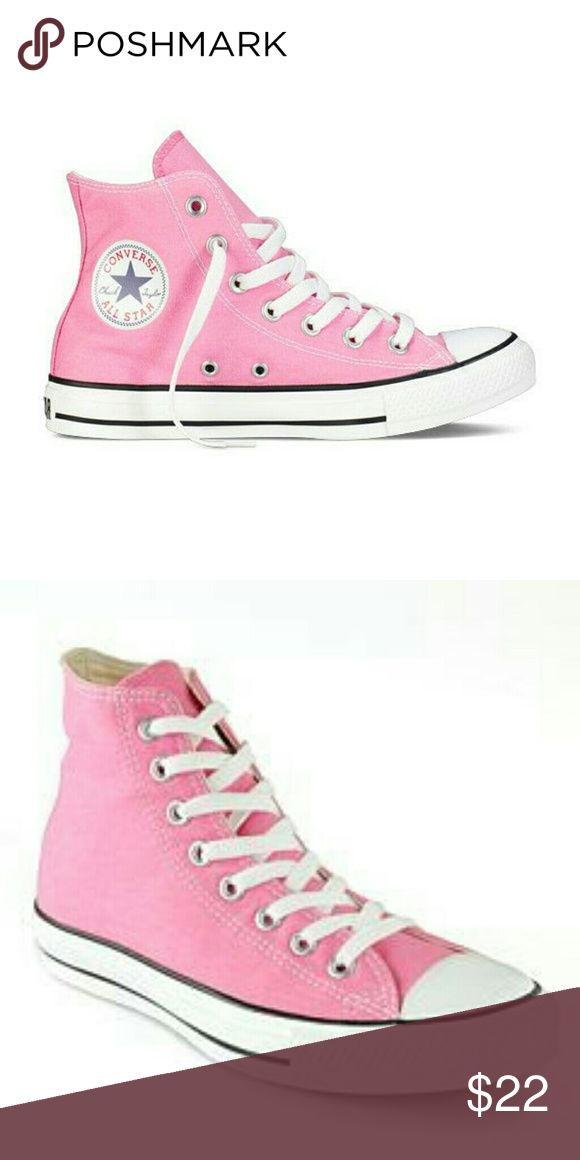 Pink high top converse all star sneaker The original Converse Chuck Taylor All Star shoe. A classic design that hasn't changed in years and years and years. Wear them with anything, jeans and t-shirt, bathing suit or a cute mock neck dress. Canvas upper rubber outsole. Converse Shoes Sneakers